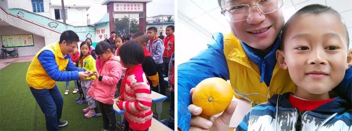 赖厚平先生与孩子们亲密互动