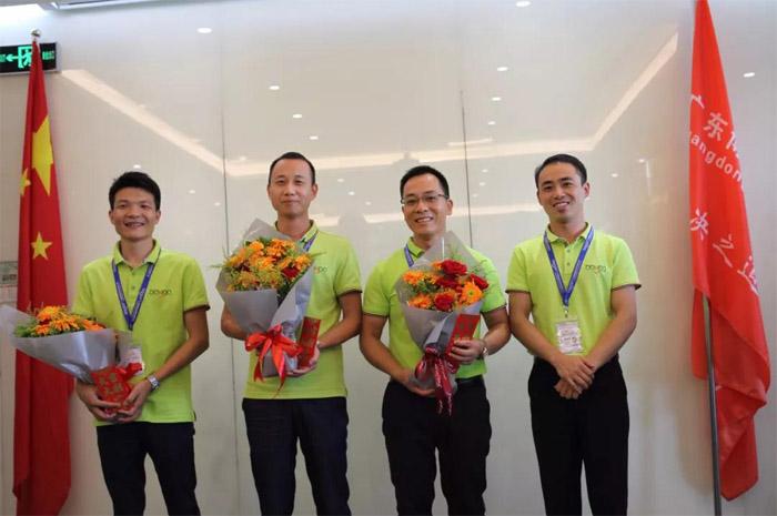 2018年上半年销售部冠亚季军:赖建明、彭修华、郭家伟(从右二到左一)